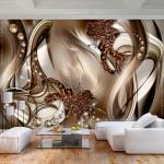 Vlies Fototapete 3d Effekt Ornamente Braun Diamant Tapete Wandbilder Wohnzimmer