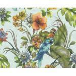 Vliestapete 30015-2 Faro 4 Blumen Papagei blau