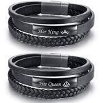 VNOX 2 STÜCKE Handgemachte Geflochtene Schwarz Echtes Leder Armband Magnetische Schnalle Seine Königin & Ihr König Passende Paare Armreif