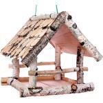 Vogelhäuschen Birke I, klein, zum Aufhängen, Holz, Futterhaus