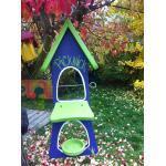 """Vogelvilla """"Doppelbar Picknick"""" Lila mit grünem Dach, F0719"""