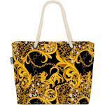 VOID Strandtasche (1-tlg), Ornamente Schwarz Gold Beach Bag Exotisch Leopard Barock Ornament Afrika Antik, bunt