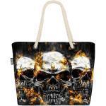 VOID Strandtasche (1-tlg), Totenköpfe Hard Rock Beach Bag Totenkopf Schädel Halloween Knochen Tot Gothic, bunt