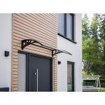 Vordach Pultbogenvordach Haustür Haustürvordach Überdachung Polycarbonat klar 1200 x 800 mm Träger Kunststoff schwarz Schulte
