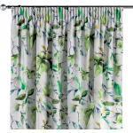 Vorhang mit Kräuselband, weiß-grün