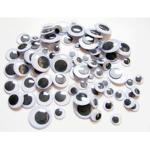 Wackelaugen d=6-8-10-12-15mm rund, 1 Mix