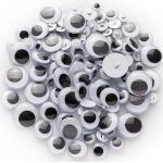 Wackelaugen, zum Annähen, schwarz-weiß, 8 - 20 mm Ø, 100 Stück