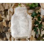 Wärmflaschenhülle aus Fell (Webpelz) Zobel silber-grau mit Naturgummi Wärmfla...