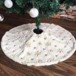 Walant 122cm Baumdecke Weihnachtsbaum,Weihnachtsbaum Decke Weich Weiß Kunstfell Weihnachtsbaum Röcke mit Schneeflocken auf der Oberfläche Perfekt Weihnachtsbaum Deko (Gold)