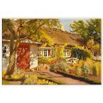 Wall-Art Leinwandbild Olaf Viggo Peter Langer - Das Gartenhaus, in 2 Größen bunt Leinwandbilder Bilder Bilderrahmen Wohnaccessoires
