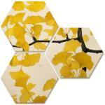 Wall-Art Mehrteilige Bilder Ginkgo Blätter Collage Natur, (Set, 3 St.) bunt Bilderrahmen Wohnaccessoires