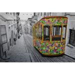 Wall-Art Metallbild Ben Heine - Tram in Lissabon, mit Silbereffekt bunt Metallbilder Bilder Bilderrahmen Wohnaccessoires