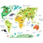 Wall-Art Wandtattoo tierische Weltkarte bunt Wandtattoos Geographie und Wandsticker Wohnaccessoires