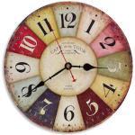 Wall-Art Wanduhr Vintage MDF Holz Shabby Chic große Wohnzimmer Uhr Ø 40cm Quartz Uhrwerk bunt Wanduhren Uhren Wohnaccessoires