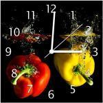 Wallario Design Wanduhr Bunte Küche Paprika in rot gelb orange und grün im Wasser aus Echtglas, Größe 30 x 30 cm, weiße Zeiger