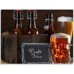 Wallario Schneidbrett »Biervarianten - Pils im Glas Flaschenbier Schild Craft Beer«, ESG-Glas, 30x40cm
