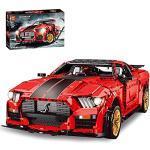 WANCHENG Technik Sportwagen Modell für Ford Mustang Shelby GT500, Supercar Bausteine Auto Rennauto ModellBausatz, 3386 Teile groß MOC Klemmbausteine, Kompatibel mit Lego Technic