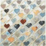 Wand Bild Ölfarbe Herzen mehrfarbig handgefertigt Rahmen Spießtanne Dekoration 80x80cm Boltze 1015736