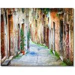 """WandbilderXXL® Gedrucktes Leinwandbild """"Charming Alley"""" 100x80cm - in 6 verschiedenen Größen. Fertig gespannt auf Holzkeilrahmen. Günstige Leinwanddrucke für Kinderzimmer Schlafzimmer."""