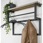 Wandgarderobe aus Stahl und Eiche Massivholz 10 Kleiderhaken