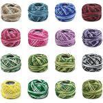 WANDIC Häkelgarn aus Baumwolle, 16 Packungen Häkelgarn zum Nähen, Häkeln, Strickgarn, Stickgarn für Heimwerker, 8 m pro Rolle