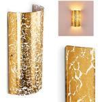 Wandlampe Modica aus Metall/Glas in Gold, moderne Wandleuchte mit Up & Down-Effekt, 1 x E14 max. 40 Watt, Innenwandleuchte mit Blattgold-Effekt, geeignet für LED Leuchtmittel
