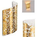 Wandlampe Pordenone aus Glas in Gold, moderne Wandleuchte mit Lichtspiel an der Wand, 1 x E14 max. 40 Watt, Innenwandleuchte mit Up & Down-Effekt in Blattgold-Optik, geeignet für LED Leuchtmittel