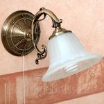 Wandleuchte Metall in Bronze Alabaster Bronze Zugschalter Wandlampe Leselampe Schlafzimmer Wohnzimmer