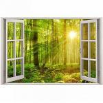 Wandtattoo 216 Fenster - grüner Wald 2 Sonnenstrahlen in 5 vers. Größen Wandtattoos