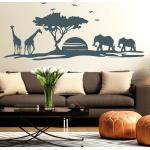 Wandtattoo Afrika Skyline Giraffe Elefant Wüste Baum sun Sticker Aufkleber 11105
