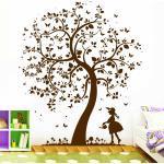 Wandtattoo Baum mit Mädchen Eule Elfe Fee Prinzessin Blume Bäumchen 10397