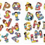 Wandtattoo Kinderzimmer Alphabet Kinder Figuren 26 Buchstaben, Wandsticker Kinderzimmer, Babyzimmer Deko, Sticker Set