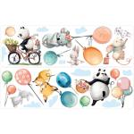 "Wandtattoo-Set ""Aquarell Waldtiere mit Luftballons"" in Bunt"