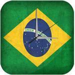 Wanduhr mit geräuschlosem Uhrwerk Dekouhr Küchenuhr Baduhr Urlaub Reisebüro Deko Brasilien Flagge Acryl Uhr Retro