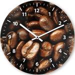 Wanduhr mit Motiv - Kaffeebohne   Echt-Glas   Rund   Küchenuhr   Modern
