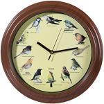 Wanduhr mit Vogelstimmen, Durchmesser ca. 33 cm, aus Kunststoff, batteriebetrieben, im Geschenkkarton