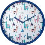 Wanduhr rund Alpaca (Blau/Weiß/Rosa, Durchmesser: 30 cm)