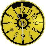 Wanduhr TÜV Plakette Design gelb aus Glas Werkstattuhr HU Rückwärts-Uhr Autohaus