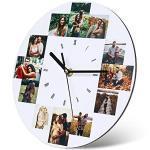 Wanduhren Personalisierte Foto Wanduhr mit 1-12 Bildern Benutzerdefiniert Wanduhren für Familie Mutter Geburtstag Hochzeitstage Dekorative Geschenk (12 Fotos)