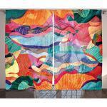 Waple Verdunkelungs-vorhänge Öse für Wohnzimmer Bunte Musterkunst der abstrakten modernen Welle 170 200cm 3D Vorhänge Blickdicht mit ösen, Gardine für Kinder, Fenster Lichtundurchlässig für Schlafzimm
