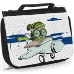 Waschtasche Flugzeug, Waschbeutel zum Aufhängen, Tasche mit Eulenmotiv, Eulentasche, Eule, Flieger, Flugzeug Geschenk, Pilot Geschenk, WT038