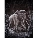 WASO-Hobby - 4er Scrapy Kratzbilder Set - Afrikanische Tiermotive / Silber Groß