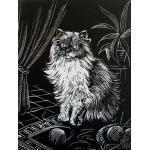 WASO-Hobby - 4er Scrapy Kratzbilder Set - Katzenmotive/Silber Postkartenformat
