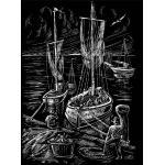 WASO-Hobby - 4er Scrapy Kratzbilder Set - Schiffsmotive/Silber Groß