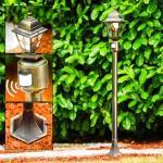 Wegeleuchte Antibes Braun, Gold, 1-flammig, Bewegungsmelder - Landhaus/Antik - Außenbereich - versandfertig innerhalb von 2-4 Werktagen
