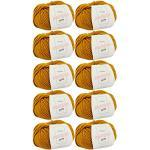 weiche Wolle -10x Merino Pure senfgelb (Fb 4067)- 10 Knäuel Merino Wolle gelb + GRATIS Label – Merinowolle Knäuel – 50g/65m – Nadelstärke 6-7mm – Merino Wolle gelb zum Stricken – Wolle zum Stricken