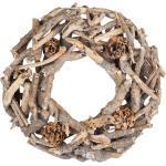 Weiden-Wurzel-Zapfen Kranz, natur, 30 cm Ø