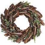 Weihnachtsdekoration Kranz Braun Holz rund mit Zweigen Innenbereich Tischdeko Wanddeko Türdeko Flur Wohn- und Schlafzimmer