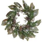 Weihnachtsdekoration Kranz Grün Kunststoff rund 60 cm mit Schnee Tannenzapfen Tannenzweigen Beeren Kugeln Innenbereich Tischdeko Türdeko
