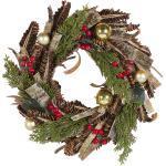 Weihnachtsdekoration Kranz Grün und Rot Holz rund mit Tannenzapfen Zweigen Kugeln Beeren Innenbereich Tischdeko Türdeko Wanddeko
